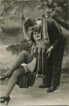 Vintage-man-woman-on-swing