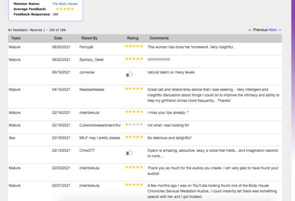 reviews, dyann bridges, erotic audio, niteflirt